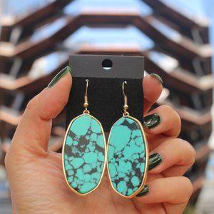 NEW Crystal Stone Dangle Hook Oval Gold Earrings